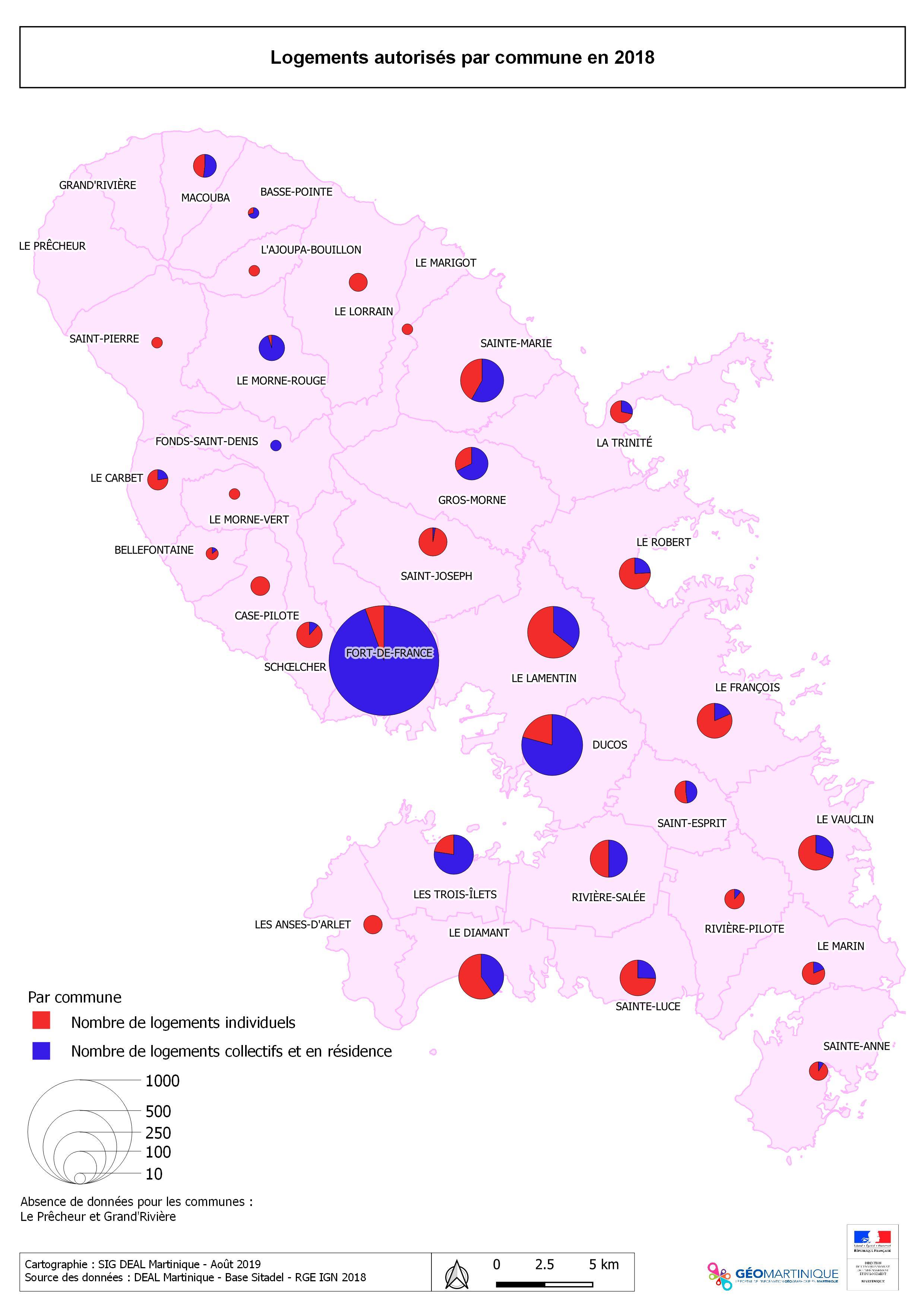 Construction neuve - Nombre de logements autorisés en 2018 en Martinique, par commune - SITADEL